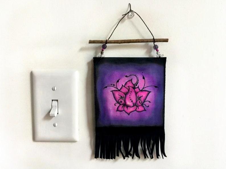 Purple Lotus Tapestry  Zen Art Wall Hanging  Tiny Small image 0