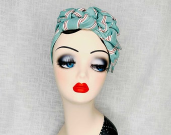 Turban hairband turquoise striped headband 20s/30s/40s retro with flower in turquoise made of soft cotton jersey