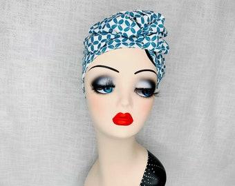 Turban Hairband Retro Flowers Aqua Headband 20s/30s/40s with draped flower made of soft cotton jersey