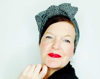 Hairband Turban Leoprint 20s/30s/40s Retro with bow in animal print mint colors