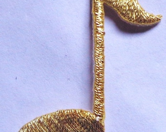 iron on applique - MUSICAL SINGLE NOTE gold