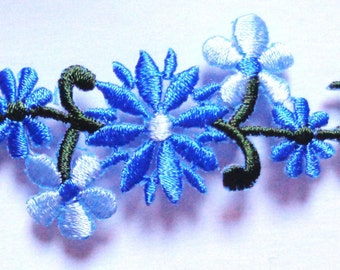 Embroidered Iron-On Applique Floral, 3+3/8 x 1+1/2 inch
