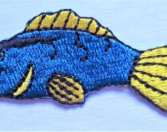 Embroidered Iron-On Applique Fish, 2+3/4 x 1 inch