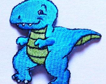 Embroidered Iron-On Applique T-Rex Dinosaur, 2+1/8 x 2+1/8 inch