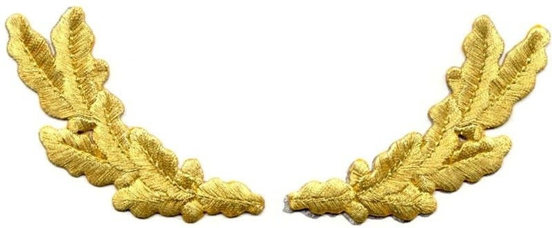 SCRAMBLED EGGS MILITARY STYLE INSIGNIA GOLD PAIR