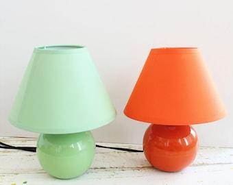 Ceramic Table Lamp. Small Office Desk Lamp, Mini Orange or Green Night light.