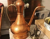 Vintage Copper and Brass Ewer beautiful copper copper teapot coper water holder dallah boho genie lamp copper kitchen embossed