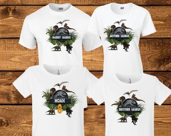 4a5e6031 Jurassic Park Birthday Shirt Personalized Name and Age Customized Jurassic  Park Family Shirt.