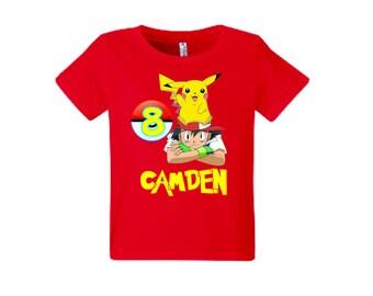 Pokemon Birthday Shirt Add Name & Age Pokemon Custom Birthday Party TShirt.