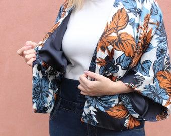 Tropical Kimono, Handmade Jacket, Tropical Print, Boho Kimono, Womens Cover Up, Short Boho Kimono, Reversible Jacket, Festival Wear