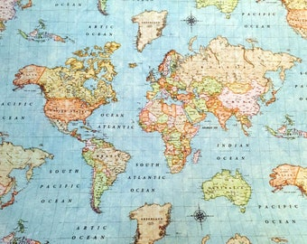 World map fabric etsy popular items for world map fabric gumiabroncs Image collections