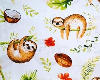 685957687b8 Sloth Fabric, Tropical Fabric, Sloths On Tree ,Animal Fabric,Cotton Fabric, Fabric by the Yard-Half Yarde