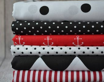 100 % Cotton Fabric Bundle,Bundle of 6 Fabrics,Black Red White Color Fabric, Patchwork Fabric,Half Yard