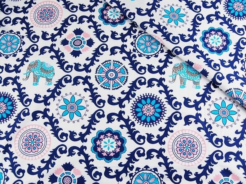 b07b35da86aa Cotton Fabric Elephant Print Fabric Boho Fabric Blue and