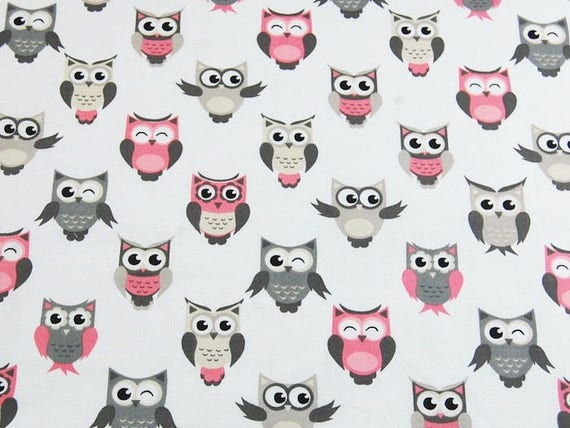 Cotton Fabric, Quilting Print Fabric,Owl Fabric, Colorful  Owls  Fabric , Fabric by the Yard-Half Yard