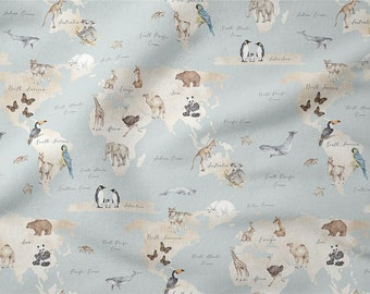 "Premium Cotton Fabric ,Animal Cotton Fabric, World Map Fabric, Width 155cm /61"""