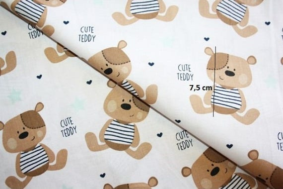 "1 mtr ivory teddy bear print 100/% cotton fabric.45""wide dress,crafts,nursery"
