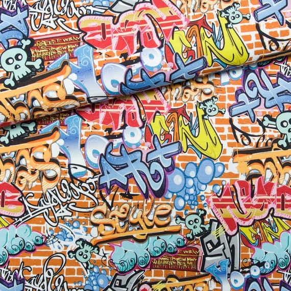 Graffiti Nation Print Fabric by the Yard with Material of Your Choice cotton included!