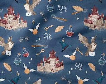 "Premium Cotton Fabric, Magic Universe Fabric, School of Magic Fabric,Half yard/half metre,Width 155cm /61"""