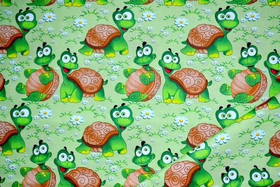 Cotton fabric,Turtle Fabric,Turtles Fabric ,Turtles on Green background,Fabric by the Yard-Half Yard