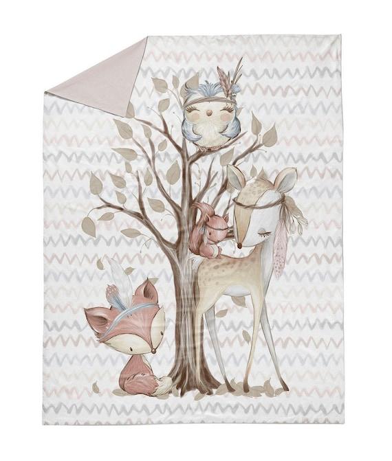 Cotton panel, Panel for blankets,Forest animals, Forest friends, Chevron Zigzag Panel, Deer,Premium Cotton,Size 75x100 cm/ 30x39 in