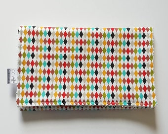 Multi Color Diamond Cotton Burp Cloth; Gender Neutral Burp Cloth