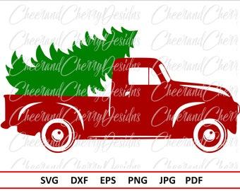 Christmas truck Svg Christmas SVG file Silhouette Christmas tree SVG for Cricut Red truck Svg Christmas truck with tree Svg Vinyl Clipart