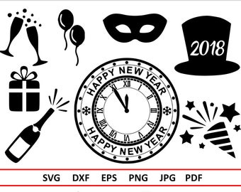 new years eve svg 2018 svg files for silhouette new years svg cricut new years clipart new years party svg champagne hat clock balloons svg