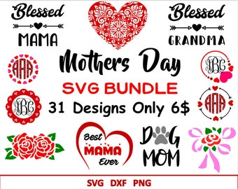Mothers Day Svg Bundle Mothers day Monograms SVG for Cricut Silhouette Svg for Mother Day Happy Mother's Day Svg  DIY Mothers Day Gift Svg