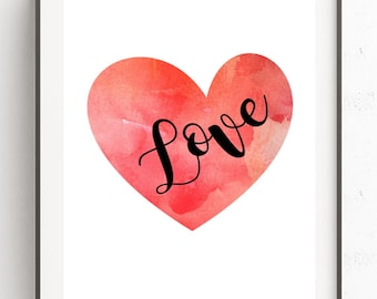 Valentines day Print Valentines Printable Heart Printable Valentines gift Watercolor Art Print Wall Art Printable Home Decor Nursery art