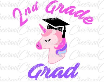 2nd Grade Graduation Svg Second Grade SVG 2nd Grade Svg Unicorn Svg Last Day of School Svg Girl Svg School Cut file Cricut Silhouette Cameo