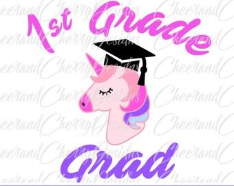 1st grade grad svg 1st grade Graduation SVG first grade svg Unicorn svg Last day of school svg Girl svg cut file for Cricut Silhouette cameo