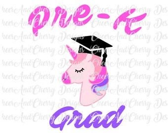 Pre K Graduation SVG Pre Kindergarten Grad Svg Last Day of School SVG Girl PreK Svg file Unicorn Svg Cut File for Cricut Silhouette Cameo
