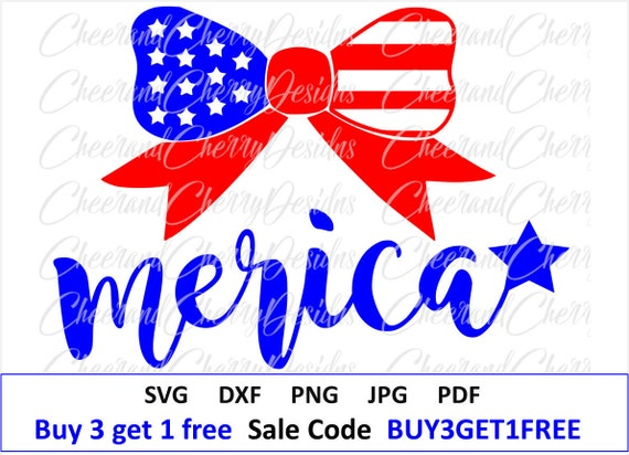 4th Of July Bow Svg 4th Of July Svg Fourth Of July Svg Merica Etsy