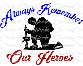 Memorial day SVG Army svg design Patriotic svg file Military Cut file Remember svg Soldier Clipart Scrapbook Silhouette Cameo files Cricut