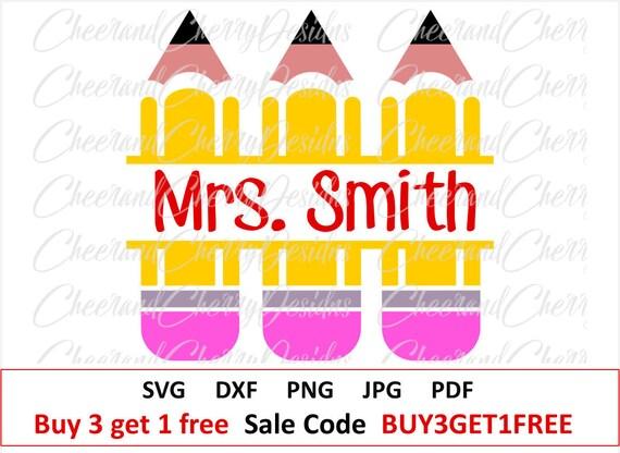 Split Pencils Monogram Svg Pencil Svg Teacher Monogram Svg