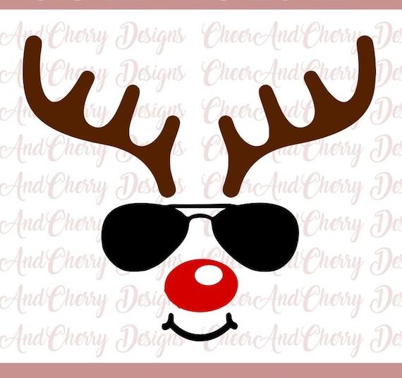 Reindeer With Glasses Svg Reindeer Face Svg For Cricut Etsy