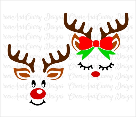 Reindeer Face Svg For Cricut Silhouette Iron On Christmas Svg Etsy
