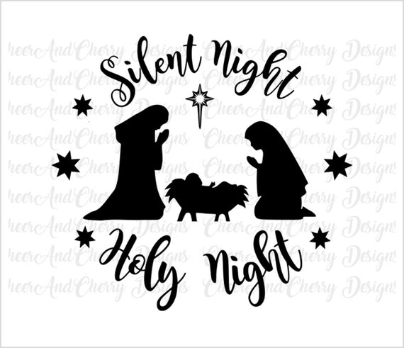 picture relating to Nativity Silhouette Printable named Nativity scene Svg Nativity Printable wall artwork Xmas SVG Xmas Printable Quiet Night time Holy Night time SVG Manger Svg Silhouette Cricut