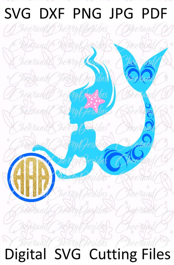 Mermaid monogram svg Mermaid svg Mermaid life svg Beach svg Mermaid  birthday SVG file for Cricut Girl svg Mermaid Silhouette svg Ocean vinyl