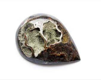 Ammonite with silver pyrite geode cabochon 62х45х4 mm