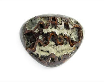 Ammonite with silver pyrite geode cabochon 45х37х4 mm