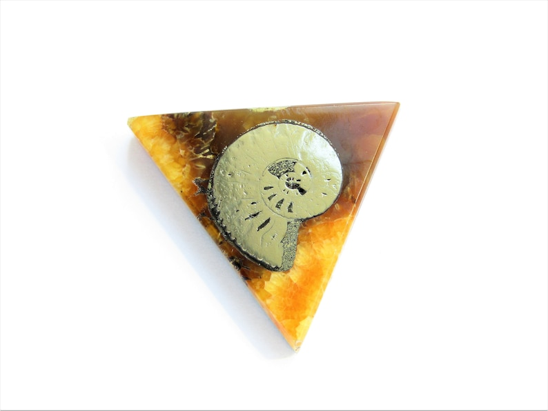 Simbircite natural stone cabochon with ammonite 36\u044530\u04455 mm
