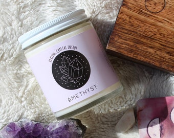AMETHYST crystal candle / healing soy wax candle / lavender scent / spiritual gift / handmade candle