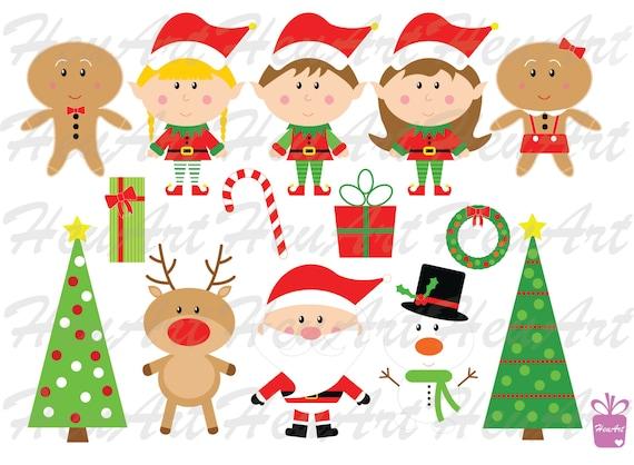 Linda Navidad Clipart Juego Lindos Imprimibles De Santa Etsy