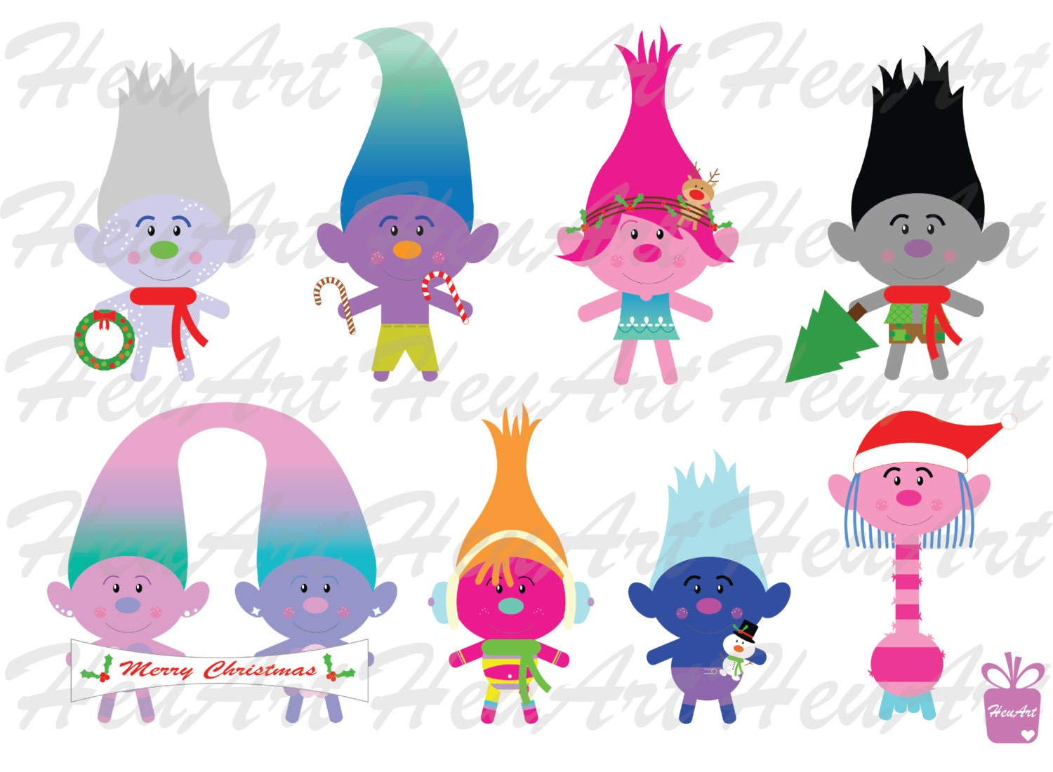 NEW Trolls Christmas Clipart Cute Trolls Christmas Clipart | Etsy