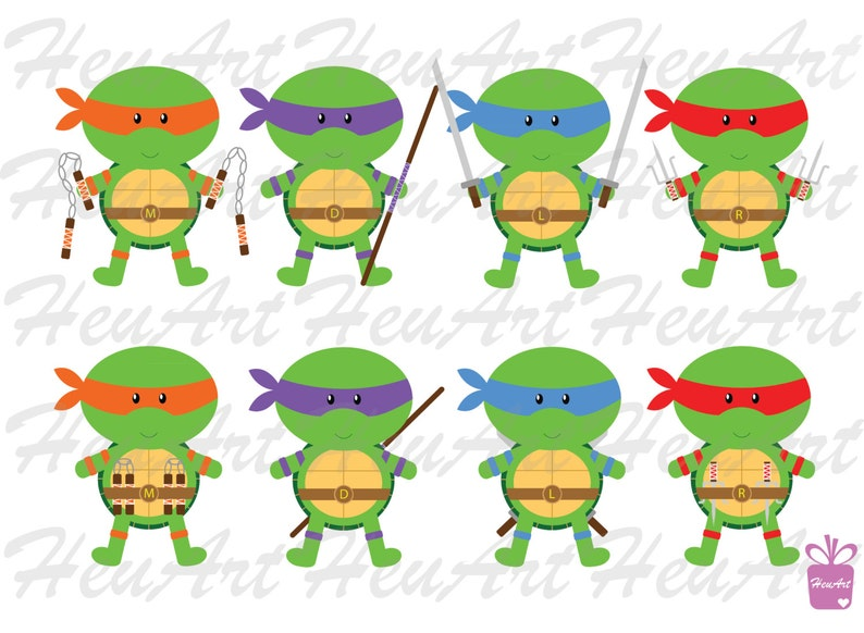 New Ninja Turtle Standard Clipart Turtle Digital Turtle Etsy
