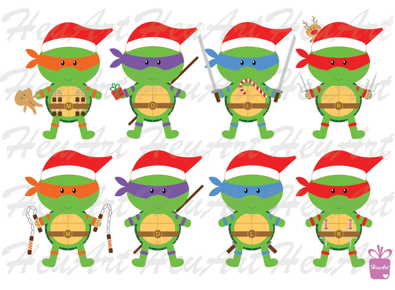 NEW Cute Ninja Turtle Christmas Clipart Cute Ninja Turtle | Etsy