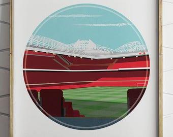 Manchester United, Old Trafford Print, Man United, Man Utd, Birthday Gift, Football Gifts, Soccer Gifts, Soccer Wall Decal, Football Poster