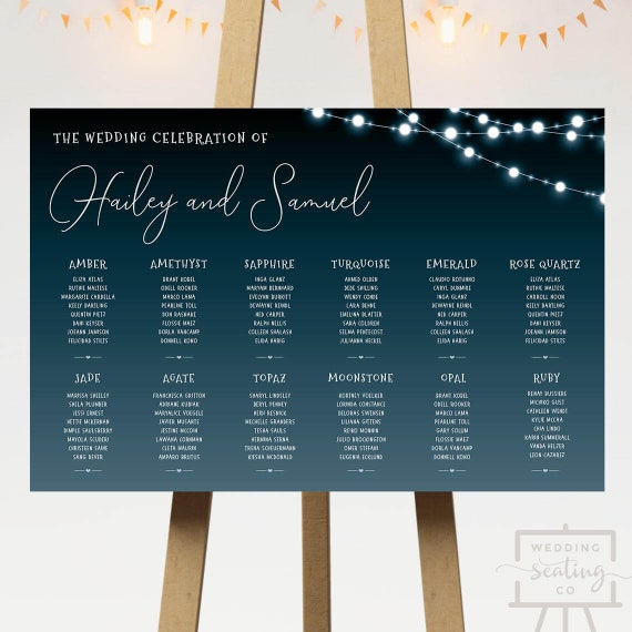 Printable Wedding Seating Plan Glowing String Lights Blue Sky Midnight Table Arrangements Board Printable Small Intimate Weddings Digital